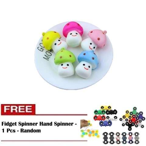 Squishy Mini Jamur Mushroom Emoticon Senyum - 1 Pcs + Free Fidget Spinner Hand Spinner -