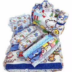 Tas Bantal Guling Gendongan Alas Tidur Perlak Bayi Set 4 In 1 Chekiddo - Biru Bear
