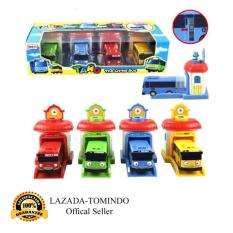 Tomindo Toys Tayo The Little Bus Garasi (1 set 4 pcs) (paking dus pvc) / Pull Back Car Play Set Mainan Anak Mobil Bis Karakter Tayo Rogi Lani Gani - 2004 / 333-002A