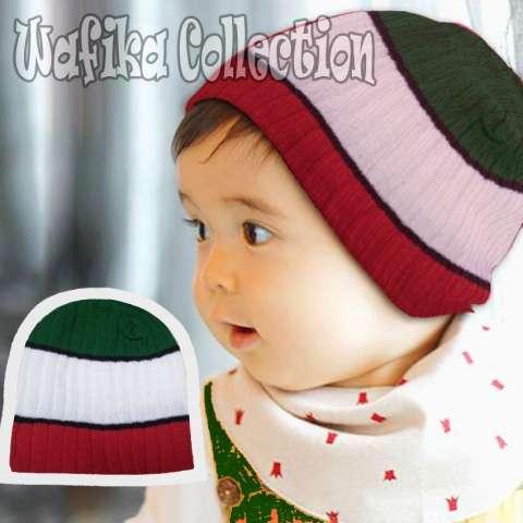 ... Topi Rajut Kupluk Salur Warna Warni Anak Bayi Si kecil STRIPED BEANIE  HAT 246b00bbfd