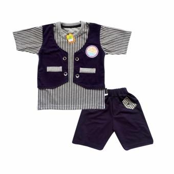 Waka Kids Baju Anak Bayi Oblong Tangan Pendek Stelan Kaos Cln Pendek 2083 - Navy