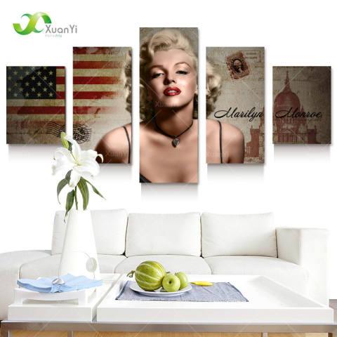 5 Panel Marilyn Monroe Minyak Lukisan Kanvas Gambar Dinding Seni Dekorasi Rumah untuk Kamar Tidur Ruang Tamu Modern Dicetak Unframed -Intl 1