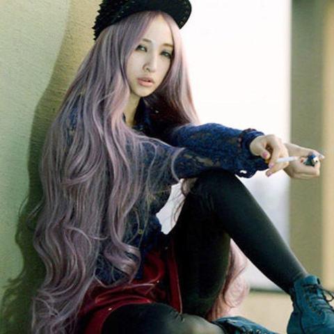 100 Cm Wanita Panjang Rambut Bergelombang Keriting Pesta Cosplay Wig  Lengkap Anime Lolita Wig-Intl a8a95b3d02