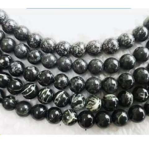 A KHA Paket Kalung Dan Gelang Black Jade 8mm 100 Batu Alam PABRIK .