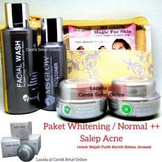 Cream Ms Glow Whitening Series + Salep Acne / Pemutih Wajah Penghilang Jerawat / Untuk Jenis Kulit Wajah Normal Kusam dengan Jerawat Ringan / MsGlow / CantikSehatOnline