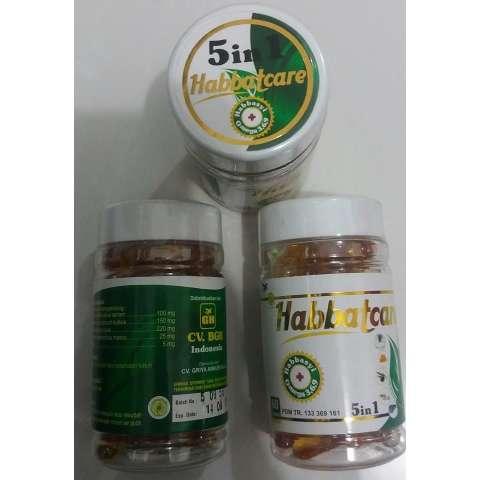 Habbat Care 5 In 1 ( Propolis + Garlic Oil + Salmon Fish Oil ) Isi