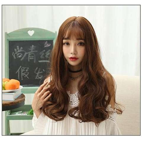 Hair Wig Rambut Palsu Korean Sweet Curly (Light Brown) - HO3362