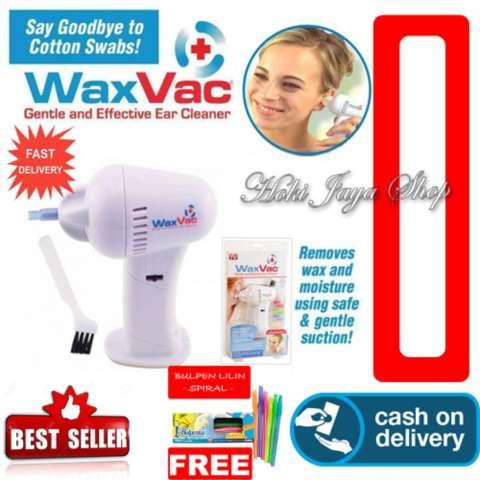HOKI COD - Gogo WaxVac Ear Cleaner - Wax Vac - Penyedot Kotoran Telinga - Putih + Gratis Pensil Lilin Unik Serba Guna Hitam Pekat - 1 Pcs