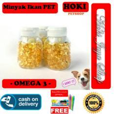 HOKI COD - Omega 3 - Minyak Ikan Untuk Anjing - Kucing - Hamster - Kelinci - ISI 100 CAPSULE + Gratis Pulpen Lilin Unik Serba Guna Hitam Pekat - 1 Pcs