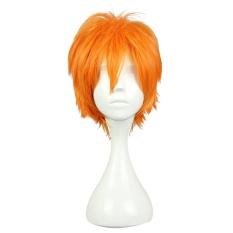 Men Short Synthetic Hair Orange Wig Koushi Sugawara Nishinoya Yuu Hinata Haikyuu Anime Cosplay (Orange)