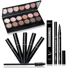 NICEFACE Professional Eye Makeup Beauty Combination Tool Selling 12 Color Eyeshadow + Mascara + Eyeliner + Mascara Brush Q301 - intl
