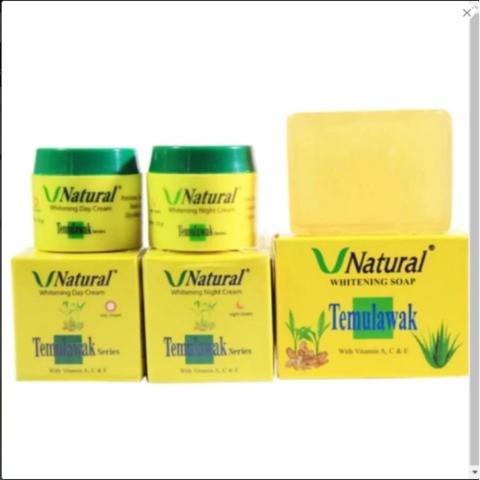 Paket Cream Temulawak V Natural Cream Siang Cream Malam Plus Sabun - Paket Pencerah Wajah Ber