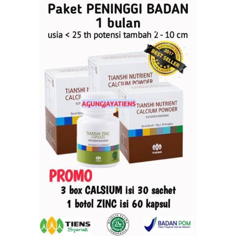 Paket promo peninggi badan 1 bulan 30 sachet calsium + 60 kapsul ZINC