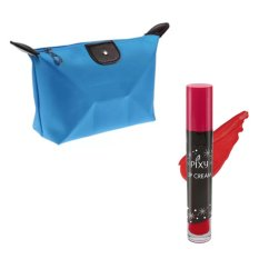 Pixy Lip Cream 02 Party Red Free Alisha Tas Kosmetik Mini Biru Muda RSC