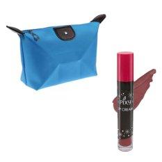 Pixy Lip Cream 06 Bold Maroon Free Alisha Tas Kosmetik Mini Biru Muda