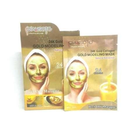 Qiansoto Masker Wajah 24K Gold Collagen [3pcs] Free Kuas Masker