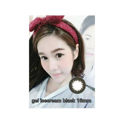 Softlens Gel Ice Cream BLACK 6 Bulan Soft Lens Gel ice Cream dia 16MM