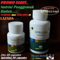 SPESIAL PROMO SADIS penggemuk badan TERBAIK dan TERLARIS di LAZADA zinc 60 capsules+ spirulina 50 capsules