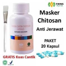 Tiens Chitosan Masker Anti Jerawat - Paket Promo Banting Harga 20 Kapsul + GRATIS Kuas