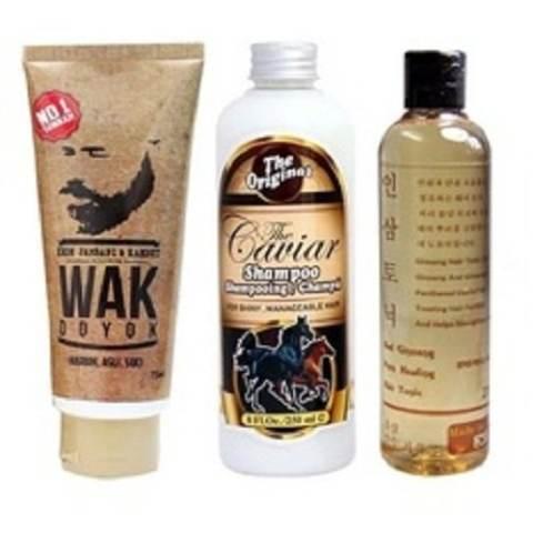 Wak Doyok Cream - Caviar Shampoo & Red Ginseng Hair Tonic - Paket Hemat Penumbuh Rambut