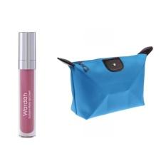 Wardah Exclusive Matte Lip Cream 04 Pink Me Free Alisha Tas Kosmetik Mini - Biru Muda RSC