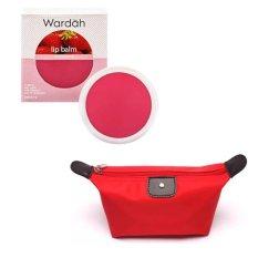 Wardah Lip Balm Strawberry Free Alisha Tas Kosmetik Mini Merah