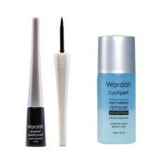 Wardah Staylast Waterproof Liquid Eyeliner Free Wardah EyeXpert Eye MakeUp Remover - 50 mL