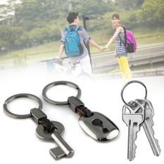 1 Pair Fashion Pasangan Kulit Gantungan Kunci Chain Ring Tas Dompet Dompet Keyring Hadiah-Intl