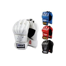 Half Finger Boxing Gloves Sanda Fighting Sandbag Gloves MMA UFC (Black with skull fingers) - intl