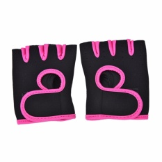Ladies Weight Lifting Gloves Neoprene Gym Training Body Building Fitness Straps Rose 8-9.5cm - intl