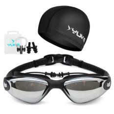 Yuke Paket Kacamata Renang Topi Renang dan Tutup Telinga - Hitam