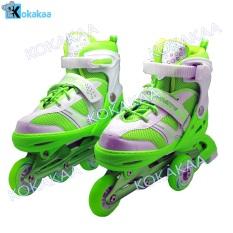 Power Sport in Line Skate Sepatu Roda 2 in 1 Adjustable Wheel - Hijau Neon