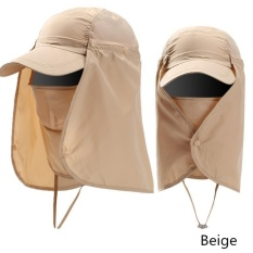 Ready Stock Unisex Outdoor Neck Protection Waterproof Sunshine Blocking Topi Semak Jungle Hat Topi Pantai (Beige)-Intl