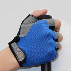 Summer half-finger gloves ordinary paragraph L (blue)