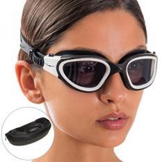 Swim Goggles + Kasus Desain Eksklusif Oleh AqtivAqua ~ Wide View Swimming Goggles untuk Pria Dewasa Wanita Pemuda Anak (warna Putih/Hitam)