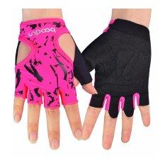 Wanita Lycra Half Finger Sarung tangan Girl Pendek Fingerless untuk INDOOR Yoga Gym Fitness Badan Latihan Bangunan OUTDOOR Berbasikal Motosikal Skate Skateboard Roller Skating Running Latihan(OVERSEAS)
