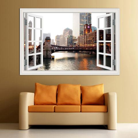 60x90 Cm Chicago Downtown City Lansekap Stiker 3D Stiker Tembok Jendela Kreasi Lihat Wallpaper Removable 1