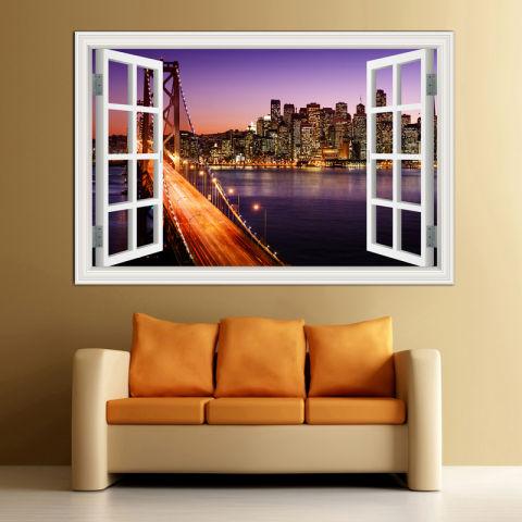 60x90 Cm Oakland Bay Bridge 3D Jendela Kreasi Lihat PVC Removable Dinding Stiker Dekorasi Rumah Decal Wallpaper 1
