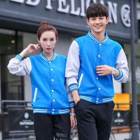 1 Pc Lengan Panjang Bisbol Mantel Pakaian Luar Jaket Coat untuk Pasangan Kekasih Jacket Tops (Sky Blue)-Intl 1