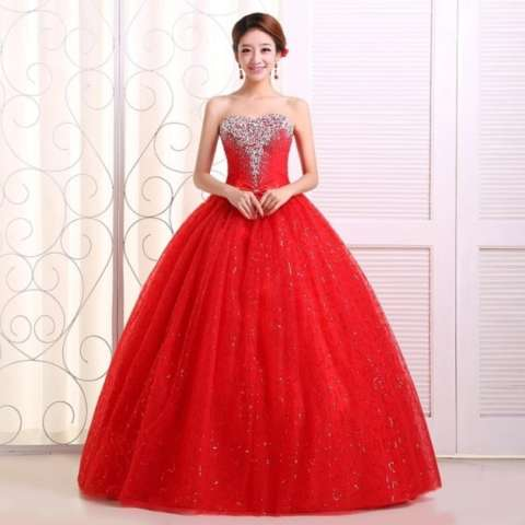 1602001R Gaun Pengantin Merah Wedding Gown Wedding Dress