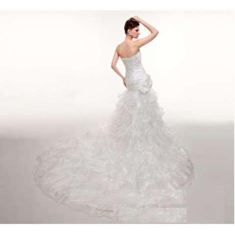 1705004 Gaun Pengantin Satin Putih Ekor Wedding Gown Wedding Dress