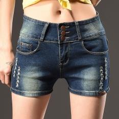 2017 Korea Fashion Wanita Tinggi Pinggang Musim Panas Ukuran Plus Robek Tertekan Pocket Button Up Hot Pants Stretchy Celana Denim (biru Tua) -Intl