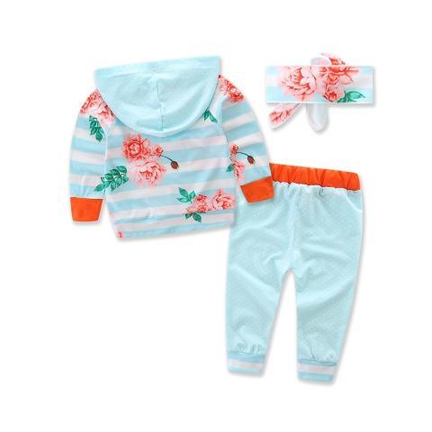 2017 Penjualan Musim Semi dan Musim Gugur Kapas Bayi Gadis Remaja Anak-anak Pakaian Set Sport Suit Hooded T-shirt + Celana + Headband Boy 3 Pcs/set-Intl 1