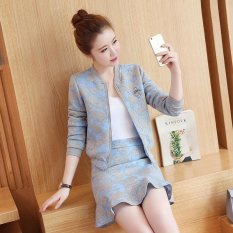 2017 Summer Baru Korea Gaya Fashion Lengan Panjang Ritsleting Mantel Jaket Fishtail Rok Dua Suits-Intl