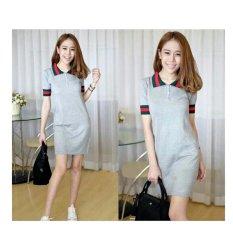 369 Mini Sexy Dress Casual Wanita Motif Kerah Bahan Babyterry - Abu