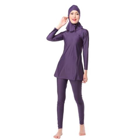 3 Pcs/set Wanita Plus Ukuran Muslim Swimwear Beach Mandi Suit Muslimah Islam Swimsuit Berenang Surf Wear Sport Pakaian Ungu- INTL 2