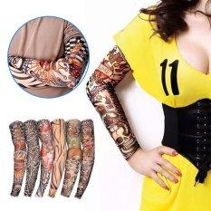 6 buah New nilon elastis palsu sementara desain tato stoking lengan baju  untuk pria wanita keren