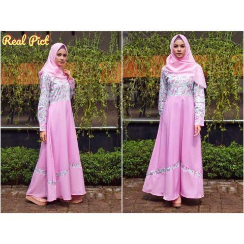AbangSky Julia Maxi Dres Kombinasi Pink + Pasmina