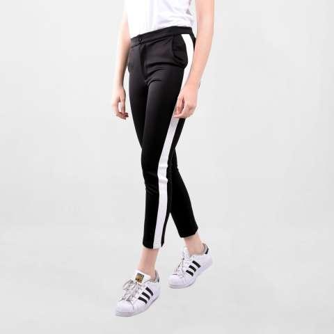 Ada Fashion Black Long Pants With White Stripe Side Line