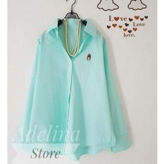 Adelina Store Fashion // Atasan Blouse TUNIK Wanita Kemeja Panjang Wanita Muslim // Baju Formal Kemeja Polos HP 1063 - Biru Muda